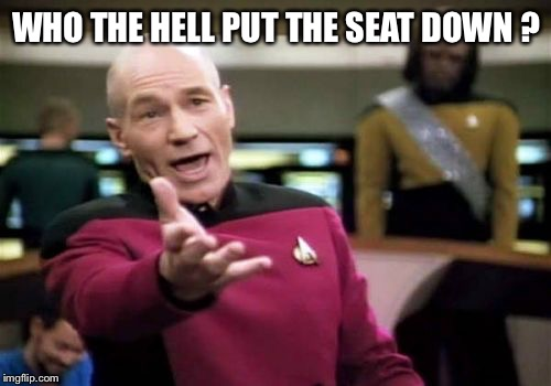Picard Wtf Meme | WHO THE HELL PUT THE SEAT DOWN ? | image tagged in memes,picard wtf | made w/ Imgflip meme maker