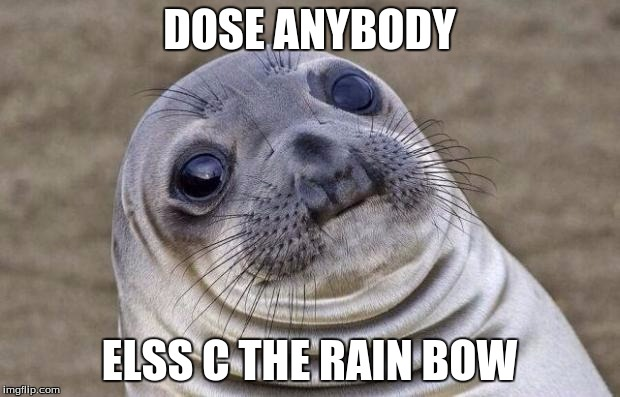Awkward Moment Sealion Meme | DOSE ANYBODY ELSS C THE RAIN BOW | image tagged in memes,awkward moment sealion | made w/ Imgflip meme maker