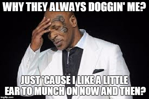 WHY THEY ALWAYS DOGGIN' ME? JUST 'CAUSE I LIKE A LITTLE EAR TO MUNCH ON NOW AND THEN? | made w/ Imgflip meme maker