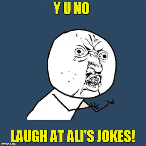 Y U No Meme | Y U NO LAUGH AT ALI'S JOKES! | image tagged in memes,y u no | made w/ Imgflip meme maker