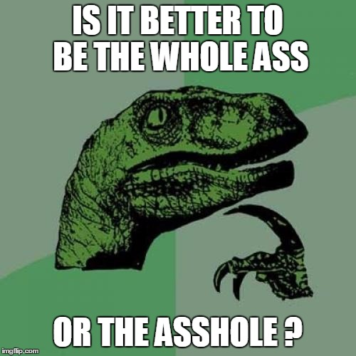 Philosoraptor Meme | IS IT BETTER TO BE THE WHOLE ASS OR THE ASSHOLE ? | image tagged in memes,philosoraptor | made w/ Imgflip meme maker