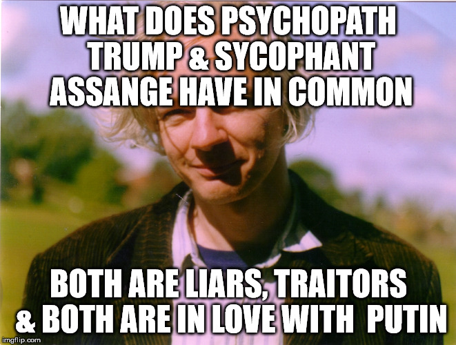 WHAT DOES PSYCHOPATH TRUMP & SYCOPHANT ASSANGE HAVE IN COMMON BOTH ARE LIARS, TRAITORS & BOTH ARE IN LOVE WITH  PUTIN | image tagged in wikileakscomingsoon | made w/ Imgflip meme maker