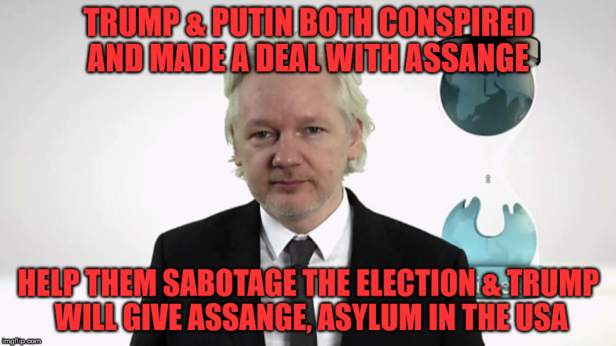 TRUMP & PUTIN BOTH CONSPIRED AND MADE A DEAL WITH ASSANGE HELP THEM SABOTAGE THE ELECTION & TRUMP WILL GIVE ASSANGE, ASYLUM IN THE USA | image tagged in wikileaksproof | made w/ Imgflip meme maker