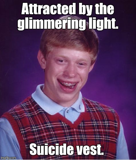 Bad Luck Brian Meme | Attracted by the glimmering light. Suicide vest. | image tagged in memes,bad luck brian | made w/ Imgflip meme maker