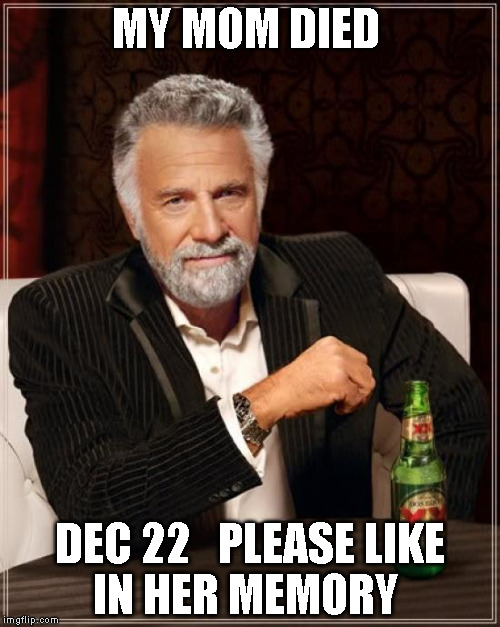 The Most Interesting Man In The World Meme | MY MOM DIED DEC 22   PLEASE LIKE  IN HER MEMORY | image tagged in memes,the most interesting man in the world | made w/ Imgflip meme maker