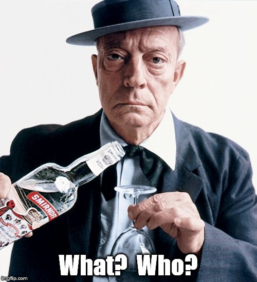 Buster vodka ad | What?  Who? | image tagged in buster vodka ad | made w/ Imgflip meme maker