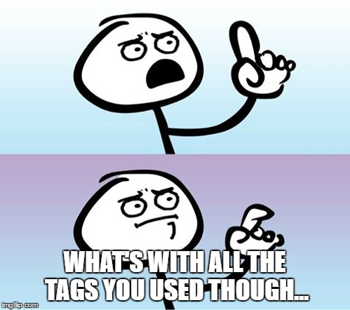 WHAT'S WITH ALL THE TAGS YOU USED THOUGH... | made w/ Imgflip meme maker