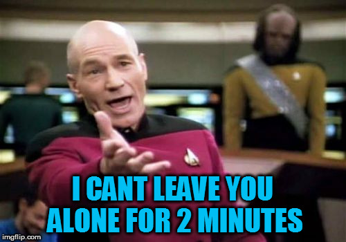 Picard Wtf Meme | I CANT LEAVE YOU ALONE FOR 2 MINUTES | image tagged in memes,picard wtf | made w/ Imgflip meme maker