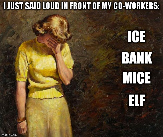 I JUST SAID LOUD IN FRONT OF MY CO-WORKERS: BANK ICE MICE ELF | image tagged in pulp art facepalm a mister jingles event | made w/ Imgflip meme maker