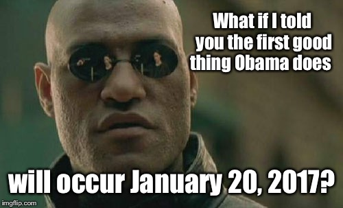 Matrix Morpheus Meme | What if I told you the first good thing Obama does will occur January 20, 2017? | image tagged in memes,matrix morpheus | made w/ Imgflip meme maker