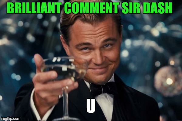 Leonardo Dicaprio Cheers Meme | BRILLIANT COMMENT SIR DASH U | image tagged in memes,leonardo dicaprio cheers | made w/ Imgflip meme maker
