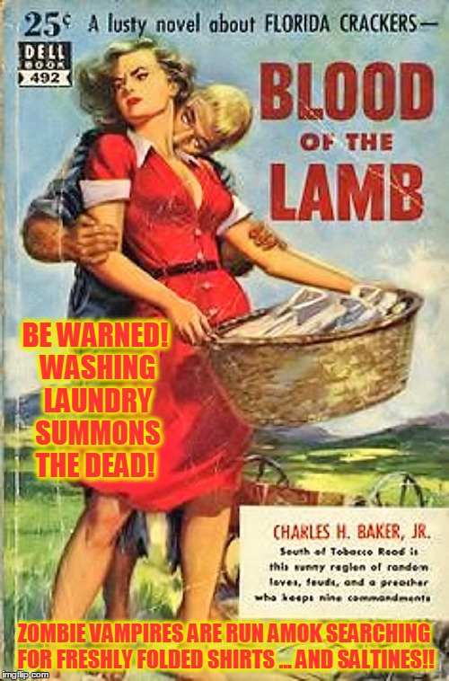 SALTINES SUCK | BE WARNED! WASHING LAUNDRY SUMMONS THE DEAD! ZOMBIE VAMPIRES ARE RUN AMOK SEARCHING FOR FRESHLY FOLDED SHIRTS ... AND SALTINES!! | image tagged in memes,pulp art week,mr jingles event,go to the cleaners | made w/ Imgflip meme maker