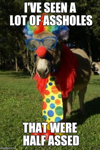 Ass clown | I'VE SEEN A LOT OF ASSHOLES THAT WERE HALF ASSED | image tagged in ass clown | made w/ Imgflip meme maker