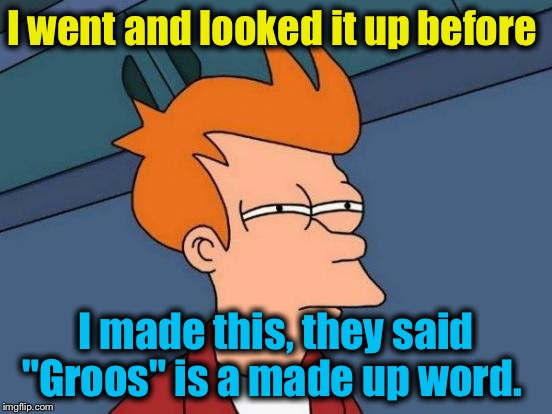"Futurama Fry Meme | I went and looked it up before I made this, they said ""Groos"" is a made up word. 