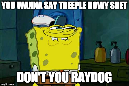 Dont You Squidward Meme | YOU WANNA SAY TREEPLE HOWY SHET DON'T YOU RAYDOG | image tagged in memes,dont you squidward | made w/ Imgflip meme maker