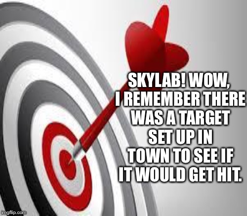 SKYLAB! WOW, I REMEMBER THERE WAS A TARGET SET UP IN TOWN TO SEE IF IT WOULD GET HIT. | made w/ Imgflip meme maker