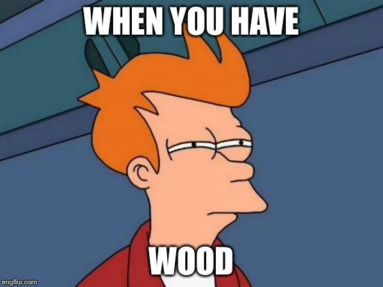 Futurama Fry Meme | WHEN YOU HAVE WOOD | image tagged in memes,futurama fry | made w/ Imgflip meme maker