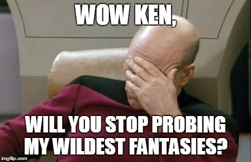 Captain Picard Facepalm Meme | WOW KEN, WILL YOU STOP PROBING MY WILDEST FANTASIES? | image tagged in memes,captain picard facepalm | made w/ Imgflip meme maker