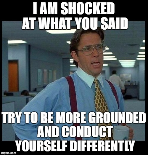 I AM SHOCKED AT WHAT YOU SAID TRY TO BE MORE GROUNDED AND CONDUCT YOURSELF DIFFERENTLY | image tagged in that would be great | made w/ Imgflip meme maker