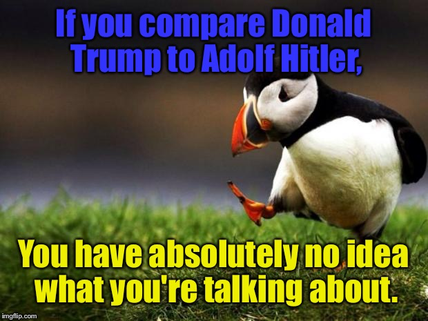 Unpopular Opinion Puffin Meme | If you compare Donald Trump to Adolf Hitler, You have absolutely no idea what you're talking about. | image tagged in memes,unpopular opinion puffin | made w/ Imgflip meme maker