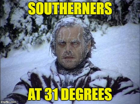 SOUTHERNERS AT 31 DEGREES | image tagged in texas,southern pride,winter,winter is coming,winter is here | made w/ Imgflip meme maker