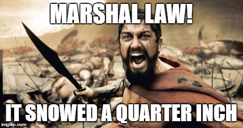 Sparta Leonidas Meme | MARSHAL LAW! IT SNOWED A QUARTER INCH | image tagged in memes,sparta leonidas | made w/ Imgflip meme maker