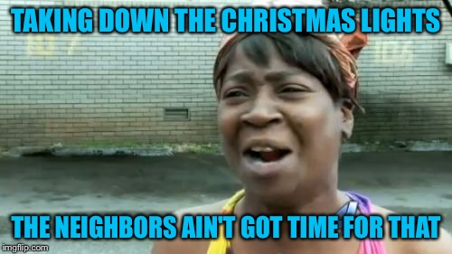 Aint Nobody Got Time For That Meme | TAKING DOWN THE CHRISTMAS LIGHTS THE NEIGHBORS AIN'T GOT TIME FOR THAT | image tagged in memes,aint nobody got time for that | made w/ Imgflip meme maker
