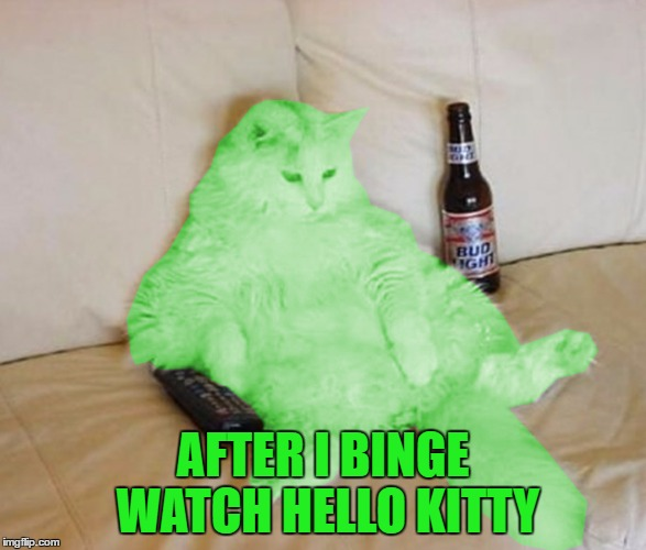 RayCat Chillin' | AFTER I BINGE WATCH HELLO KITTY | image tagged in raycat chillin' | made w/ Imgflip meme maker