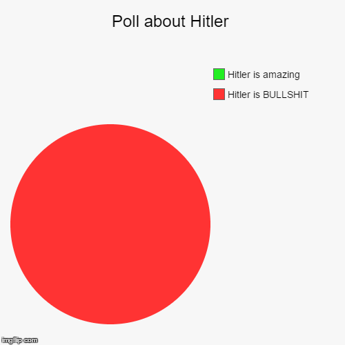 Poll about Hitler | Hitler is BULLSHIT, Hitler is amazing | image tagged in funny,pie charts | made w/ Imgflip pie chart maker