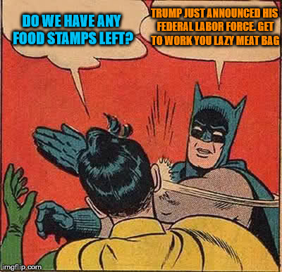 Batman Slapping Robin Meme | DO WE HAVE ANY FOOD STAMPS LEFT? TRUMP JUST ANNOUNCED HIS FEDERAL LABOR FORCE. GET TO WORK YOU LAZY MEAT BAG | image tagged in memes,batman slapping robin | made w/ Imgflip meme maker