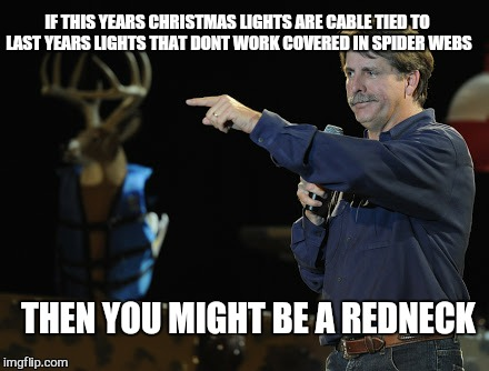 Is it july already.  .. | THEN YOU MIGHT BE A REDNECK IF THIS YEARS CHRISTMAS LIGHTS ARE CABLE TIED TO LAST YEARS LIGHTS THAT DONT WORK COVERED IN SPIDER WEBS | image tagged in memes,christmas,first world problems,jeff foxworthy pointing | made w/ Imgflip meme maker