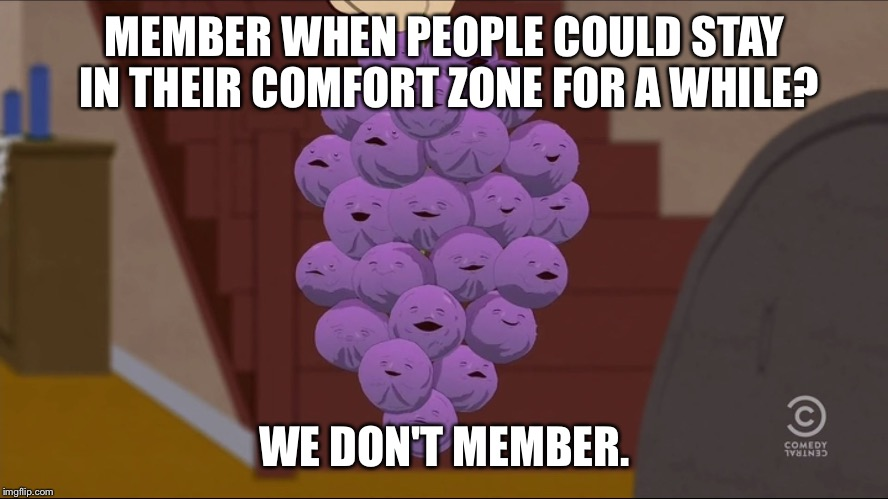 Member Berries Meme | MEMBER WHEN PEOPLE COULD STAY IN THEIR COMFORT ZONE FOR A WHILE? WE DON'T MEMBER. | image tagged in memes,member berries | made w/ Imgflip meme maker