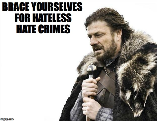 Brace Yourselves X is Coming Meme | BRACE YOURSELVES FOR HATELESS HATE CRIMES | image tagged in memes,brace yourselves x is coming | made w/ Imgflip meme maker