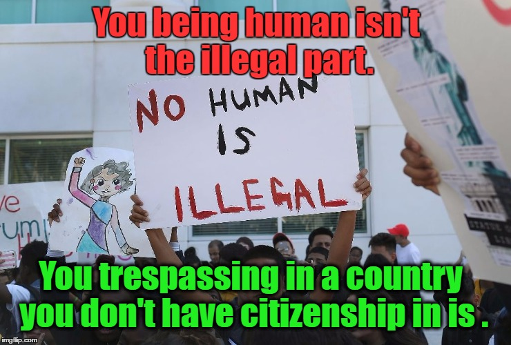 You being human isn't the illegal part. You trespassing in a country you don't have citizenship in is . | image tagged in illegals | made w/ Imgflip meme maker