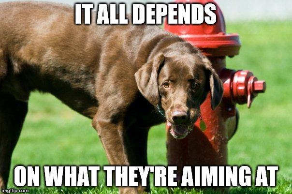 IT ALL DEPENDS ON WHAT THEY'RE AIMING AT | made w/ Imgflip meme maker