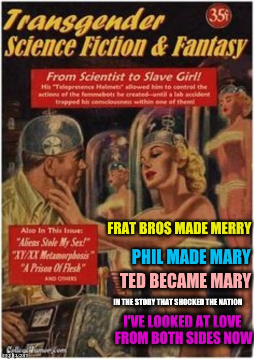 Men didn't know what they were getting into with Mary. A Pulp Week 2 meme | FRAT BROS MADE MERRY I'VE LOOKED AT LOVE FROM BOTH SIDES NOW PHIL MADE MARY TED BECAME MARY IN THE STORY THAT SHOCKED THE NATION | image tagged in pulp art week,transgender sci-fi | made w/ Imgflip meme maker