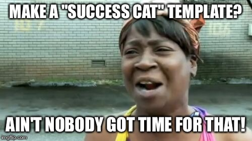 "Kitty goes meow | MAKE A ""SUCCESS CAT"" TEMPLATE? AIN'T NOBODY GOT TIME FOR THAT! 