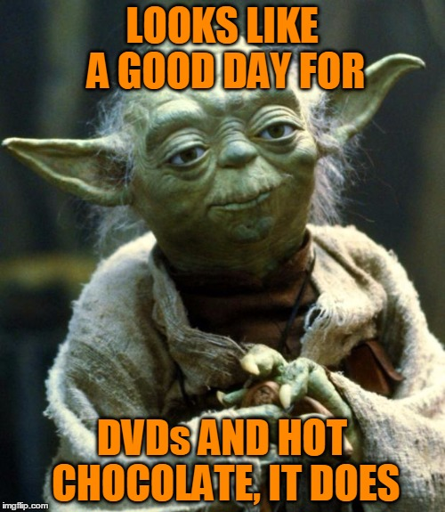 Star Wars Yoda Meme | LOOKS LIKE A GOOD DAY FOR DVDs AND HOT CHOCOLATE, IT DOES | image tagged in memes,star wars yoda | made w/ Imgflip meme maker