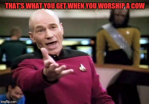 Picard Wtf Meme | THAT'S WHAT YOU GET WHEN YOU WORSHIP A COW | image tagged in memes,picard wtf | made w/ Imgflip meme maker