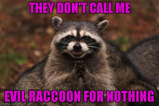 THEY DON'T CALL ME EVIL RACCOON FOR NOTHING | made w/ Imgflip meme maker