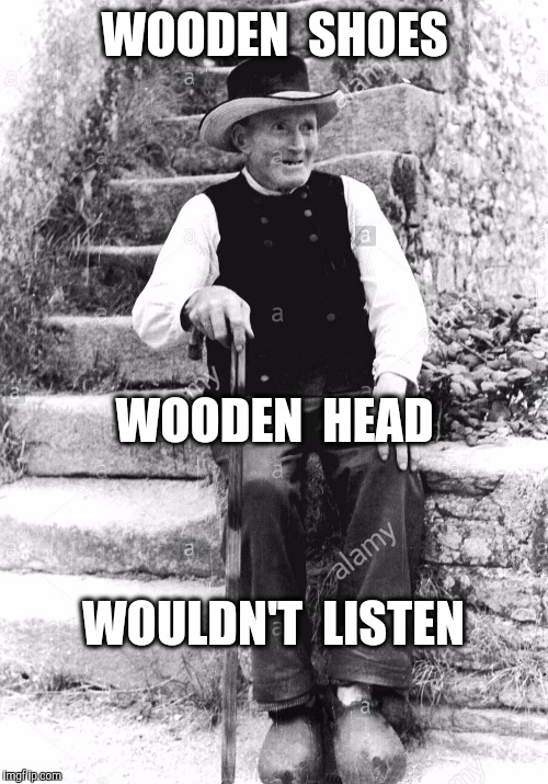 WOODEN  SHOES WOULDN'T  LISTEN WOODEN  HEAD | made w/ Imgflip meme maker