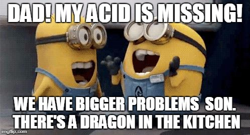 Excited Minions Meme | DAD! MY ACID IS MISSING! WE HAVE BIGGER PROBLEMS  SON. THERE'S A DRAGON IN THE KITCHEN | image tagged in memes,excited minions | made w/ Imgflip meme maker