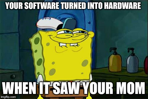 Dont You Squidward Meme | YOUR SOFTWARE TURNED INTO HARDWARE WHEN IT SAW YOUR MOM | image tagged in memes,dont you squidward | made w/ Imgflip meme maker
