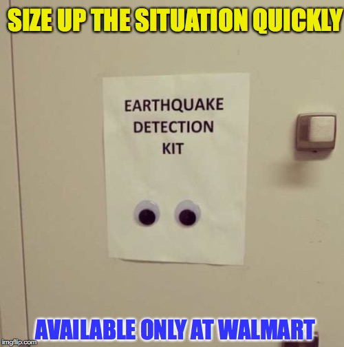 Affordable Seismograph | SIZE UP THE SITUATION QUICKLY AVAILABLE ONLY AT WALMART | image tagged in earthquake | made w/ Imgflip meme maker