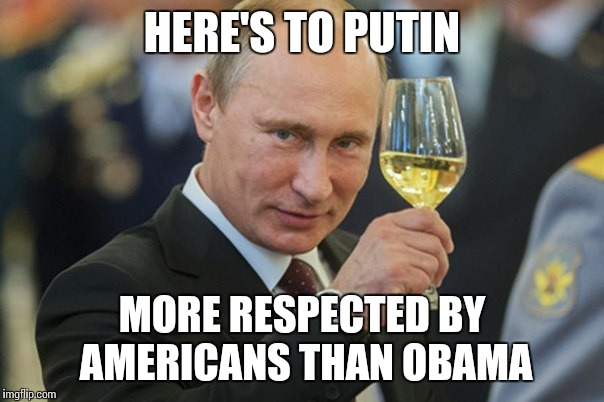 Vladimir Putin Cheers | HERE'S TO PUTIN MORE RESPECTED BY AMERICANS THAN OBAMA | image tagged in vladimir putin cheers | made w/ Imgflip meme maker