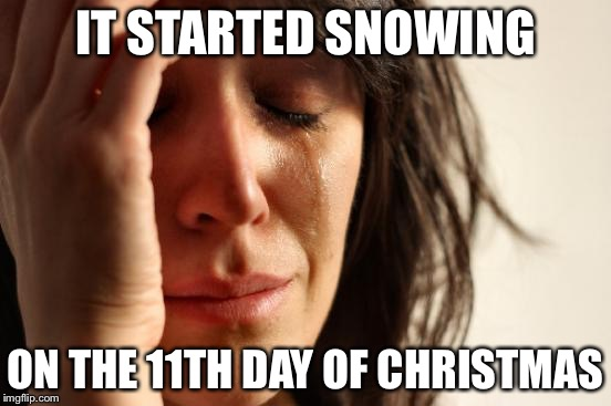 First World Problems Meme | IT STARTED SNOWING ON THE 11TH DAY OF CHRISTMAS | image tagged in memes,first world problems | made w/ Imgflip meme maker