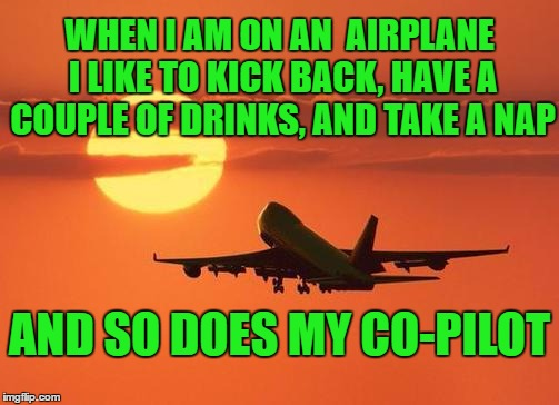 I think I have been on a few of these flights | WHEN I AM ON AN  AIRPLANE I LIKE TO KICK BACK, HAVE A COUPLE OF DRINKS, AND TAKE A NAP AND SO DOES MY CO-PILOT | image tagged in airplanelove | made w/ Imgflip meme maker