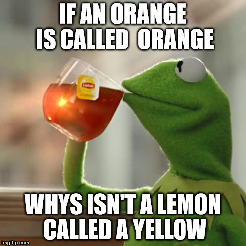 But Thats None Of My Business Meme | IF AN ORANGE IS CALLED  ORANGE WHYS ISN'T A LEMON CALLED A YELLOW | image tagged in memes,but thats none of my business,kermit the frog | made w/ Imgflip meme maker