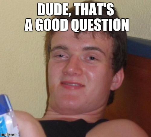 10 Guy Meme | DUDE, THAT'S A GOOD QUESTION | image tagged in memes,10 guy | made w/ Imgflip meme maker