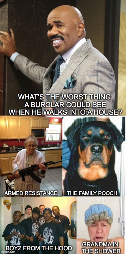Home Security | WHAT'S THE WORST THING A BURGLAR COULD SEE WHEN HE WALKS INTO A HOUSE? GRANDMA IN THE SHOWER ARMED RESISTANCE THE FAMILY POOCH BOYZ FROM THE | image tagged in steve harvey,quiz | made w/ Imgflip meme maker